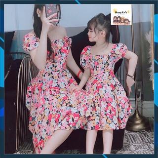 Đồ đôi mẹ và bé ,váy đầm của mẹ, 4 màu, chất liệu Lụa_Tằm mát mẻ – mềm mại- form váy xòe chữ A, tay bồng