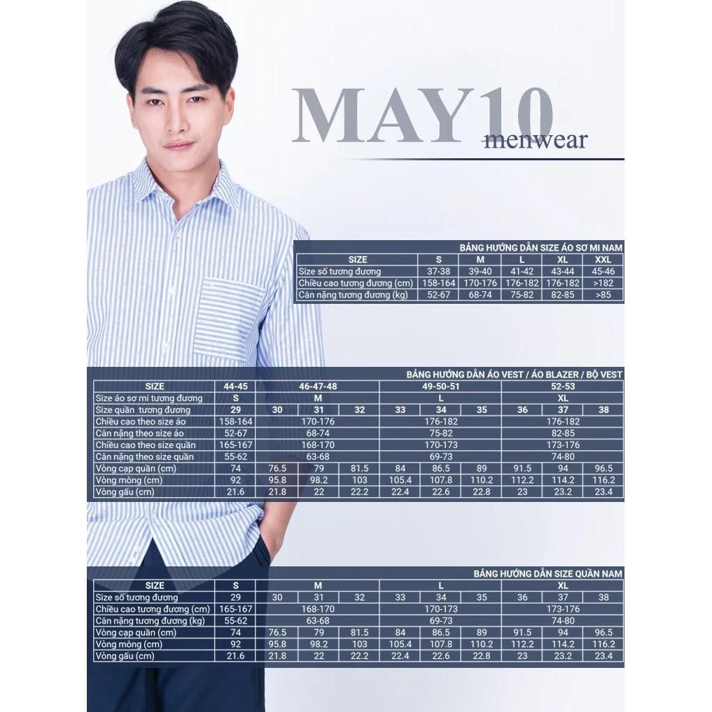 Áo sơ mi nam cộc tay May 10 chất Cotton dáng RegularFit mã 010119110ON 0585