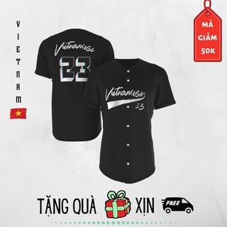 aó bóng chày Vietnamese cotton đen (Có Ảnh Thật)