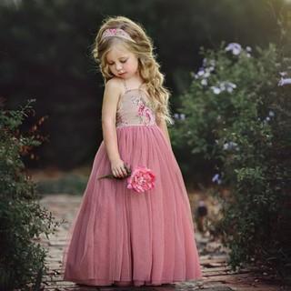 Đầm cổ yếm dáng dài họa tiết hoa thời trang cho bé gái