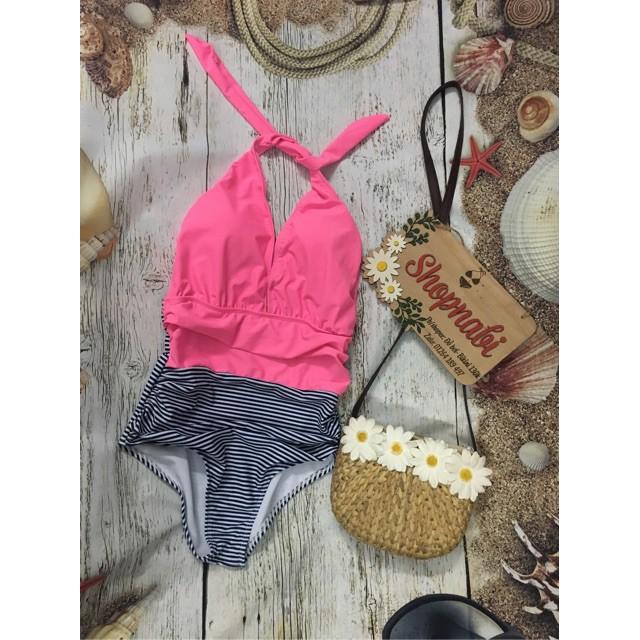 mảnh sọc phối hồng siêu dễ thương - bikini nữ- Áo tắm nữ