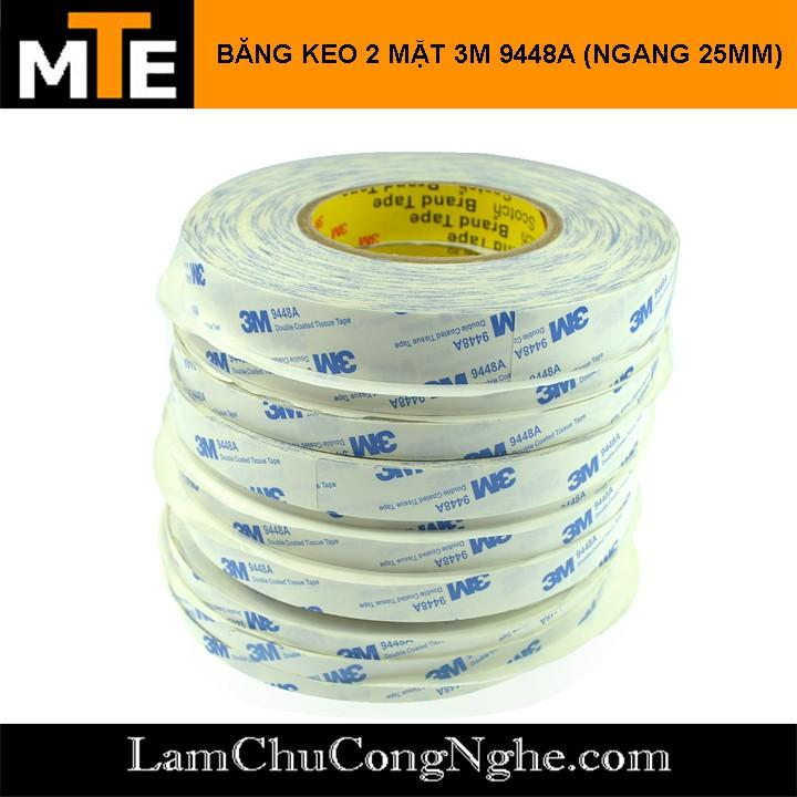 50 mét Băng keo chịu nhiệt 2 mặt 3M 9448A - Keo dán tản nhiệt linh kiện điện tử 2 mặt 1m x 2.5cm