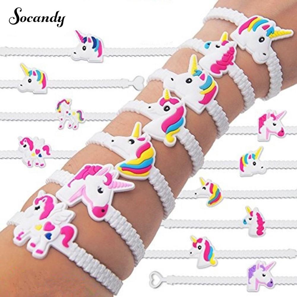 5Pcs Cartoon Unicorn PVC Bracelets Kidss Cute Adjustable Wristbands