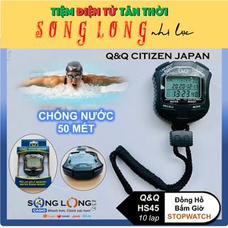 Đồng Hồ Bấm giờ Q&Q HS-45 – 10 lap –Chống thấm nước đến 50 met, Chuyên dùng trong Thể Thao- Đồng Hồ Q&Q Citizen Chính Hã
