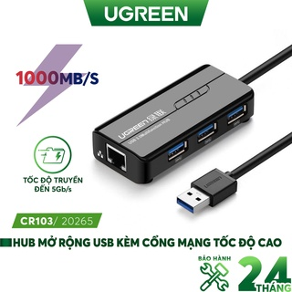 HUB USB 3 cổng 3.0 kèm cổng mạng LAN 10 100 1000 Mbps UGREEN CR103 20265 thumbnail