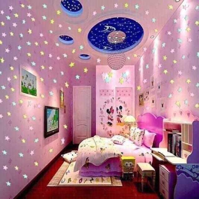 Gói 100 sao dạ quang phát sáng trang trí nhà siêu đẹp.