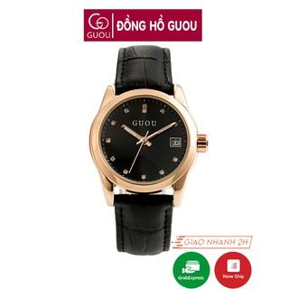 [Mã FASHIONRNK giảm 10K đơn 50K] Đồng hồ nữ đeo tay dây da Guou viền mạ vàng chính hãng chống nước tuyệt đối 8076 thumbnail