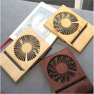 [Tặng pin sạc 1200mAh, 3 chế độ] Quạt mini để bàn vân gỗ sang trọng hiện đại 3 cấp độ gió 2 nguồn điện sạc USB hoặc pin
