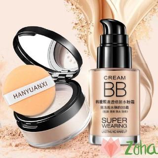 Combo trang điểm makeup kem nền che khuyết điểm và phấn phủ kiềm dau lameila thumbnail