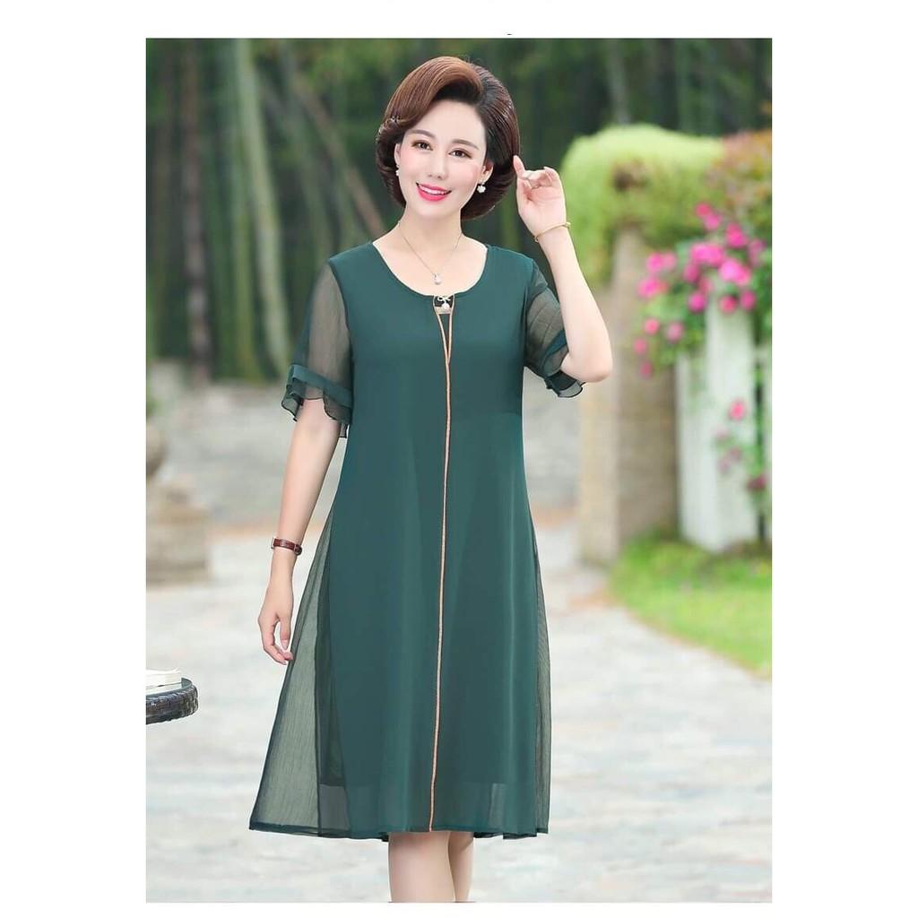 Váy trung niên dự tiệc dáng suông (ME2143)