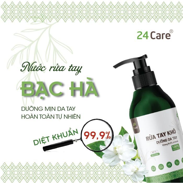 [DIỆT KHUẨN] Nước rửa tay khô tinh dầu Bạc Hà 24Care 100ML– Diệt khuẩn 99,9% đạt tiêu chuẩn FDA Hoa Kỳ
