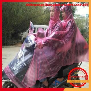 [GIÁ HỦY DIỆT] Áo mưa hình chấm bi choàng đôi khi đi xe máy