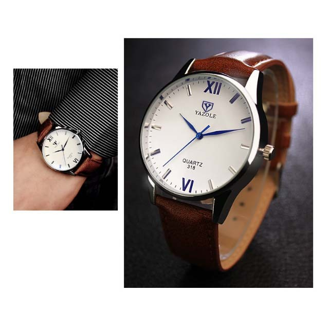 Đồng hồ nam Yazole 318 dây da (Trắng Nâu)