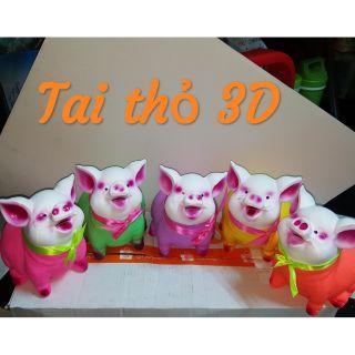 Heo Tai thỏ 3D nhiều màu dễ thương