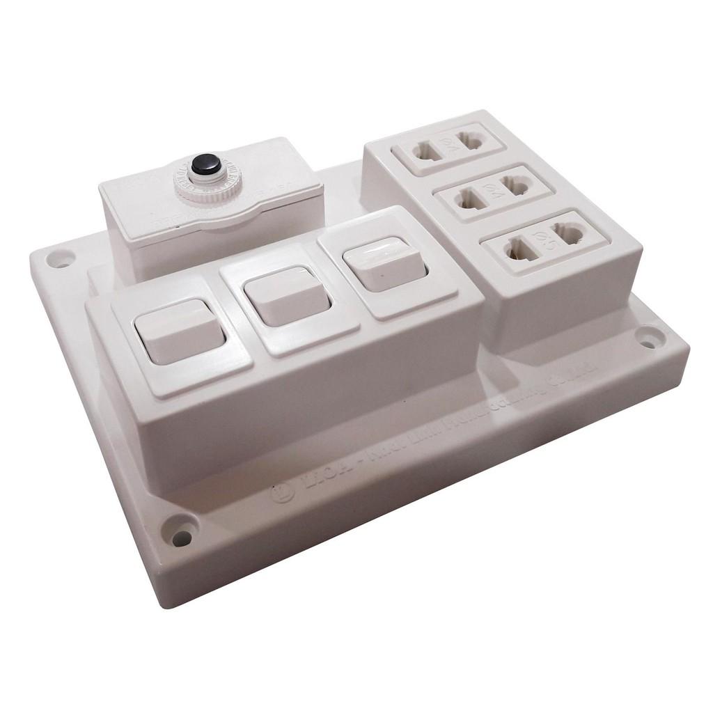 Bảng điện nổi 15A 3 ổ cắm 3 công tắc LIOA CB15A3C, Giá tháng 10/2020