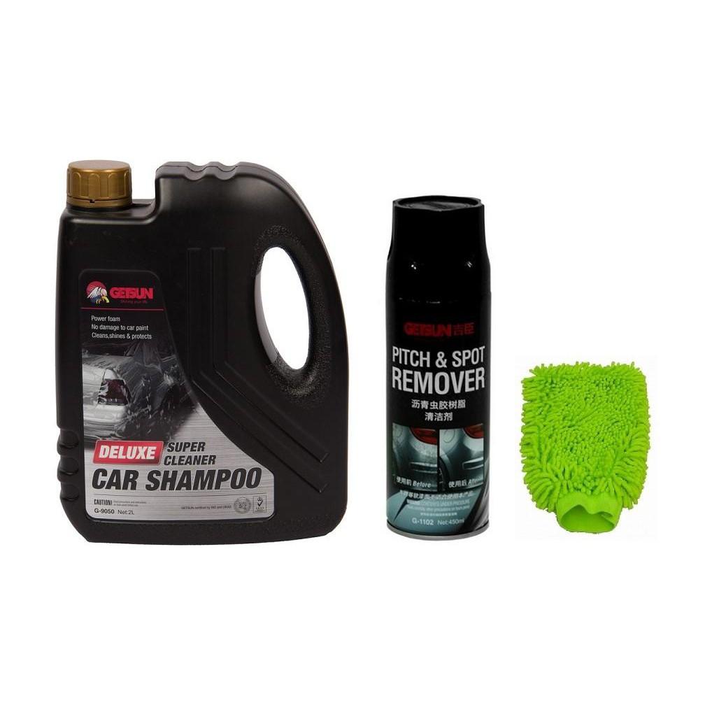 Combo dọn vệ sinh xe thần thánh gồm Nước rửa xe Getsun + Găng tay lau xe + Tẩy keo băng dính đường G