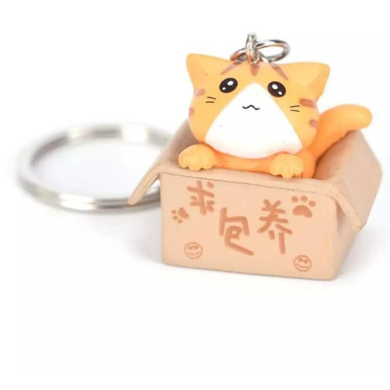 Móc khóa bé mèo trong hộp cute