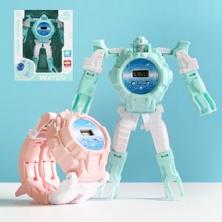 Đồng Hồ Điện Tử Đeo Tay Hình Robot Biến Hình Cho Bé