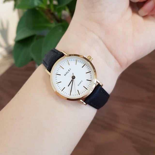 Đồng hồ nữ Halei dây da mềm chính hãng chống nước(Có size