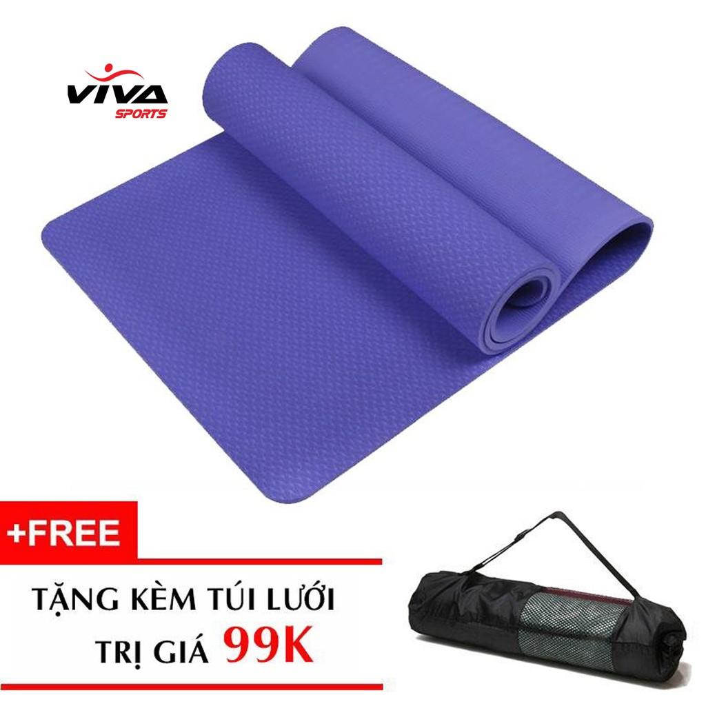 Thảm tập yoga TPE 8mm đúc liền (tặng túi +dây buộc trị giá 99k) xanh dương đậm
