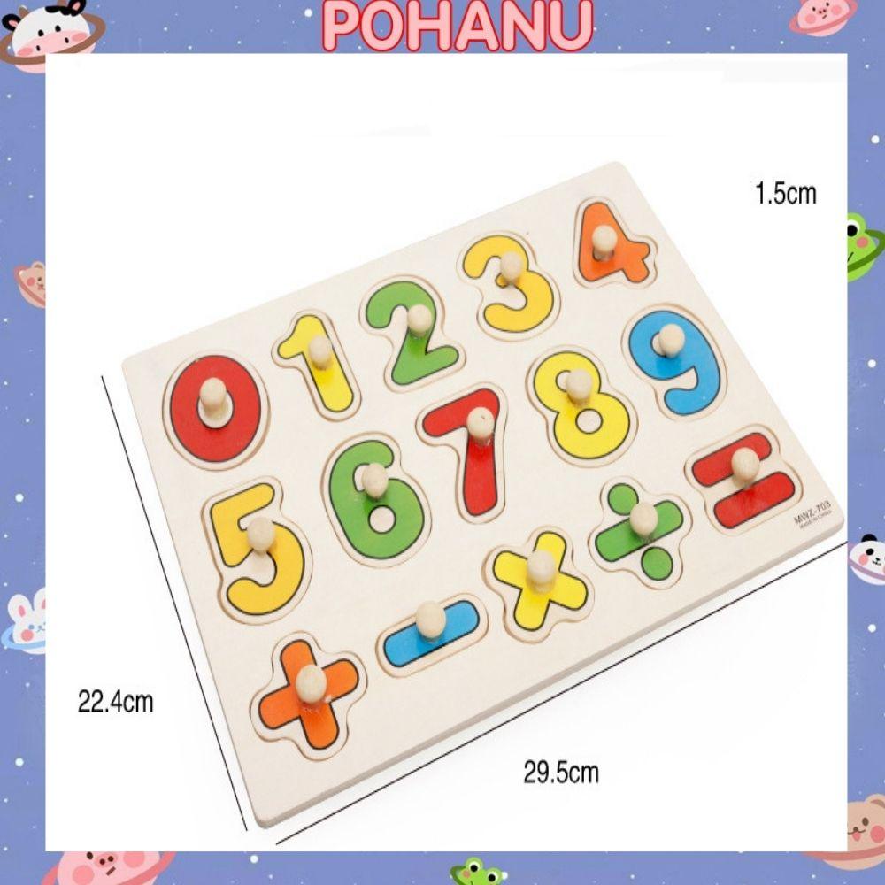 Đồ chơi gỗ Pohanu bảng ghép hình núm gỗ cho bé an toàn sáng tạo BG01