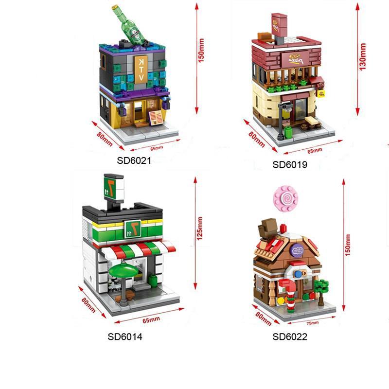 Sembo Block 7-11 PIZZA KTV Candy Mini Street View 4Set/Lot Building Blocks Compa