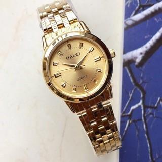 Đồng hồ nam Halei mặt đen dây da kim loại chính hãng Mon Watch
