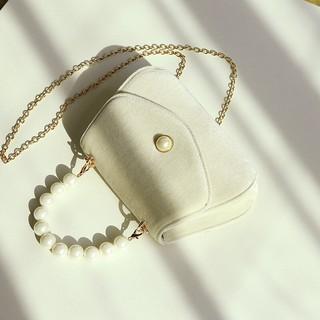 Túi đeo chéo da lộn kèm quay xách chuỗi ngọc sang chảnh 854