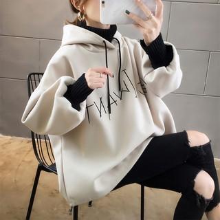 Áo Sweater Cổ Lọ Lót Nhung Form Rộng Thời Trang Cho Nữ
