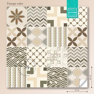 Decal gạch bông phong cách #𝐕𝐢𝐧𝐭𝐚𝐠𝐞 𝐜𝐨𝐥𝐨𝐫 tấm 60x165cm (44 ô gạch 15x15cm)