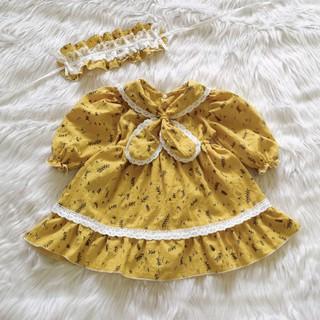 Váy cho bé gái từ 6-30kg - Thiết kế màu vàng phối ren kèm nơ cổ siêu đáng yêu (Tặng kèm băng đô cô hầu gái)