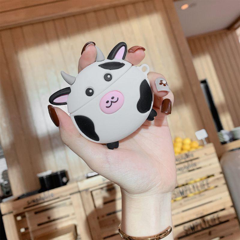 Hộp Bảo Vệ Bằng Silicone Chống Sốc Hình Bò Sữa Đáng Yêu Cho Airpods