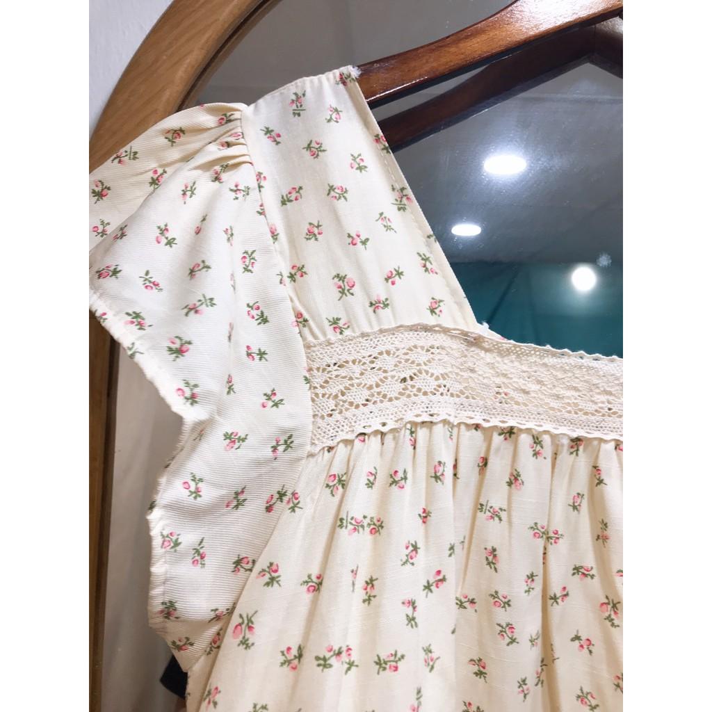 Mặc gì đẹp: Dễ chịu với Đầm bầu đẹp - váy bầu hoa nhí cổ vuông phối ren chất đũi hàn tay bèo BN48