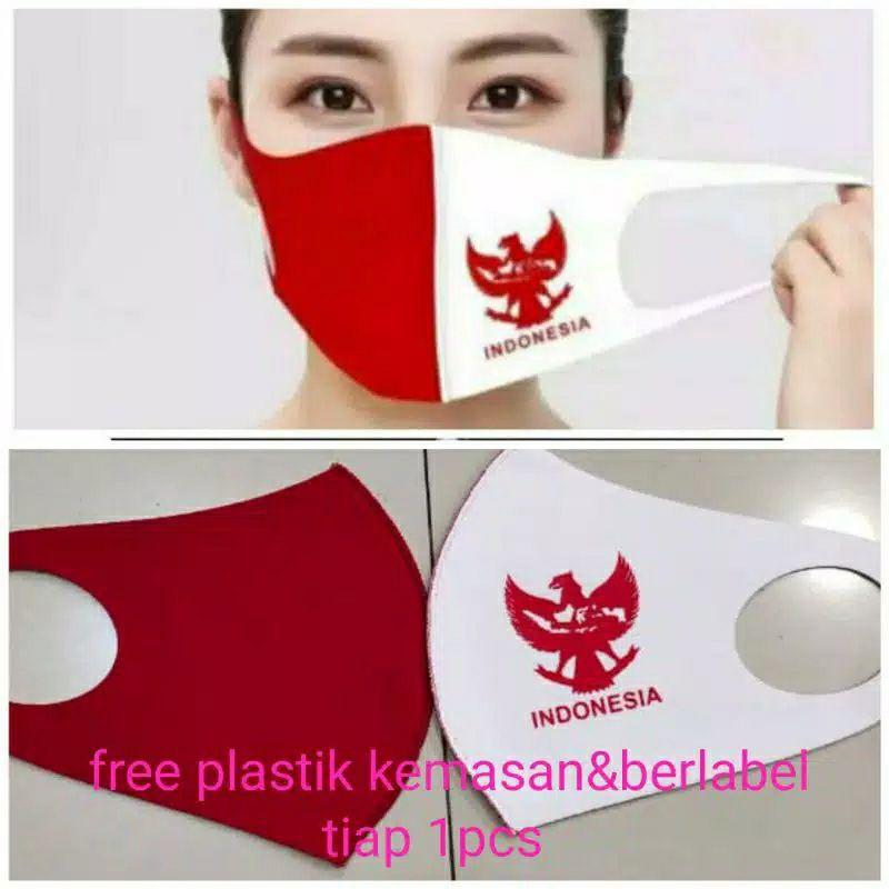 (Hàng Mới Về) Khẩu Trang Vải Indonesian August 17 Màu Đỏ Và Trắng Dành Cho Người Lớn