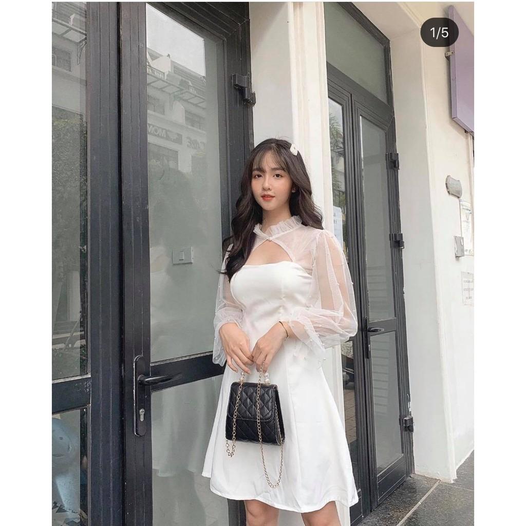 [vải loại 1] Đầm nữ trắng dạo phố dễ thương, dự tiệc tay phồng đính hạt nữ tính tôn dáng