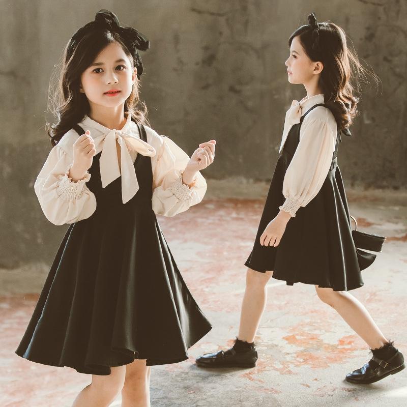 6219176389 - Set Áo Thun Dài Tay Cổ Tròn+chân Váy Yếm Cho Bé 2020