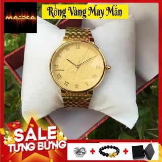 [MẪU HOT] Đồng Hồ Nam Nữ Baishuns Mặt Vàng Họa Tiết Long phụng Dây Xích Kim Loại Mạ Vàng ( Tặng Vòng Tỳ Hưu ) thumbnail