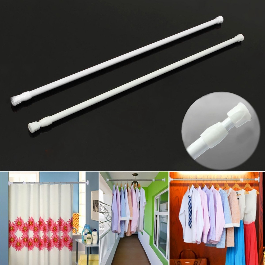 Tension Rod Shower Adjustable Window Curtain Rail Pole Extendable Closet Cabinet Telescopic
