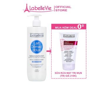 Sữa tẩy trang Evoluderm dưỡng ẩm và bổ sung Vitamin E dành cho da thường 500ml (3068)