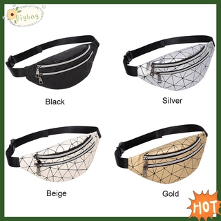 Bigbag.Holographic Waist Bags Women Fanny Pack Geometric Leather Chest Phone Pouch