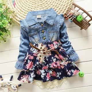 ღ♛ღNew Girls cowboy dress cotton dress baby Girls autumn clothes kids girls dress