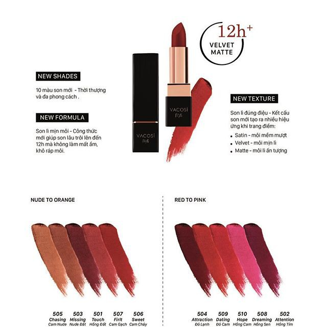 Image result for Son lì mịn môi Vacosi natural studio color matte lipstick