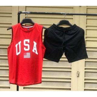Set bộ đồ nam in chữ USAA chất thun cotton co giản 4 chiều thấm hút mồ hôi tốt (VẢI COTTON CAO CẤP)