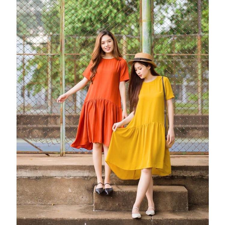 Đầm dáng suông hàng thiết kế đầm đuôi cá rũ thời trang 4 màu