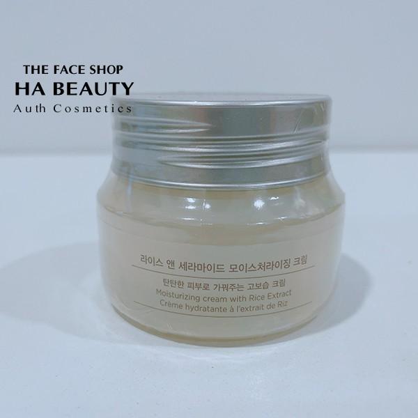 Kem dưỡng trắng da The Face Shop Rice Ceramide Moisturizing Cream 50ml chiết xuất từ gạo vitamin B vitamin E dưỡng ẩm