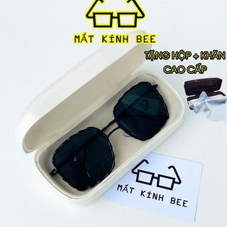 Mắt kính nam thời trang form vuông gọng kim loại chống tia UV400 BEE166 tặng hộp + khăn