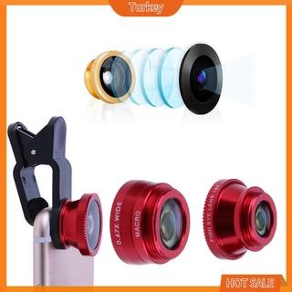 Bộ Ống Kính 3 Trong 1 Fish Eye + Wide Angle + Macro 5 Màu Cho Điện Thoại