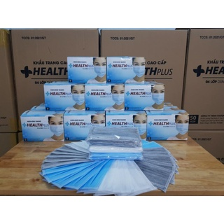 Khẩu trang y tế 4 lớp kháng khuẩn Health Plus mix màu xanh xám trắng (bịch 10 cái) thumbnail