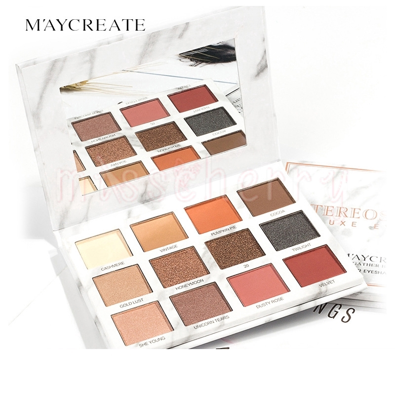 Bảng phấn mắt MayCreate 12 màu kết hợp trang điểm lâu trôi thời trang