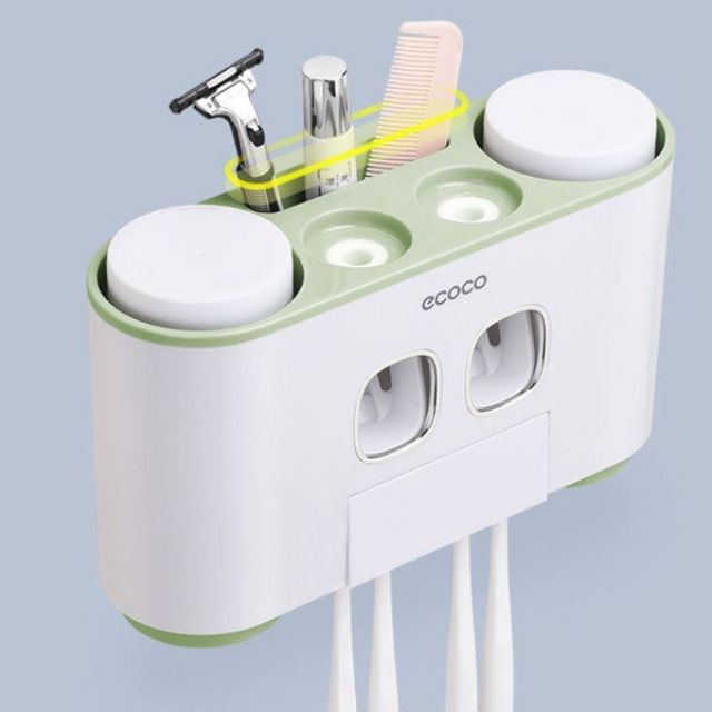 (Ecoco SIÊU RẺ) Kệ 2 nặn kem đánh răng kèm 4 cốc siêu dính Ecoco, hàng cao cấp mã 1802